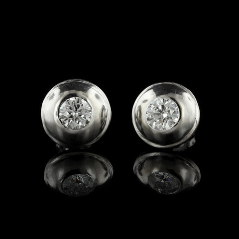 14K White Gold Estate Diamond Studs