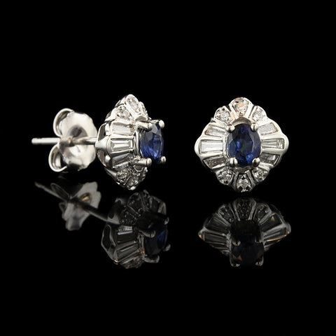 18K White Gold Sapphire and Diamond Studs