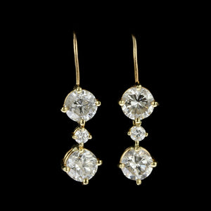 14K Yellow Gold Diamond Drop Earrings