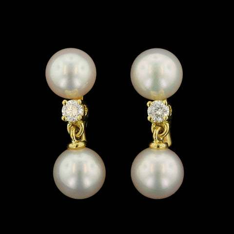 Mikimoto 18K Yellow Gold Cultured Pearl and Diamond Earrings