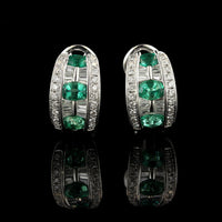 18K White Gold Emerald and Diamond Earrings