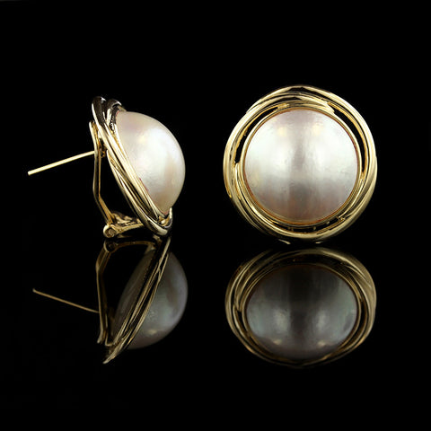 14K Yellow Gold 16MM Mabe Pearl Earrings