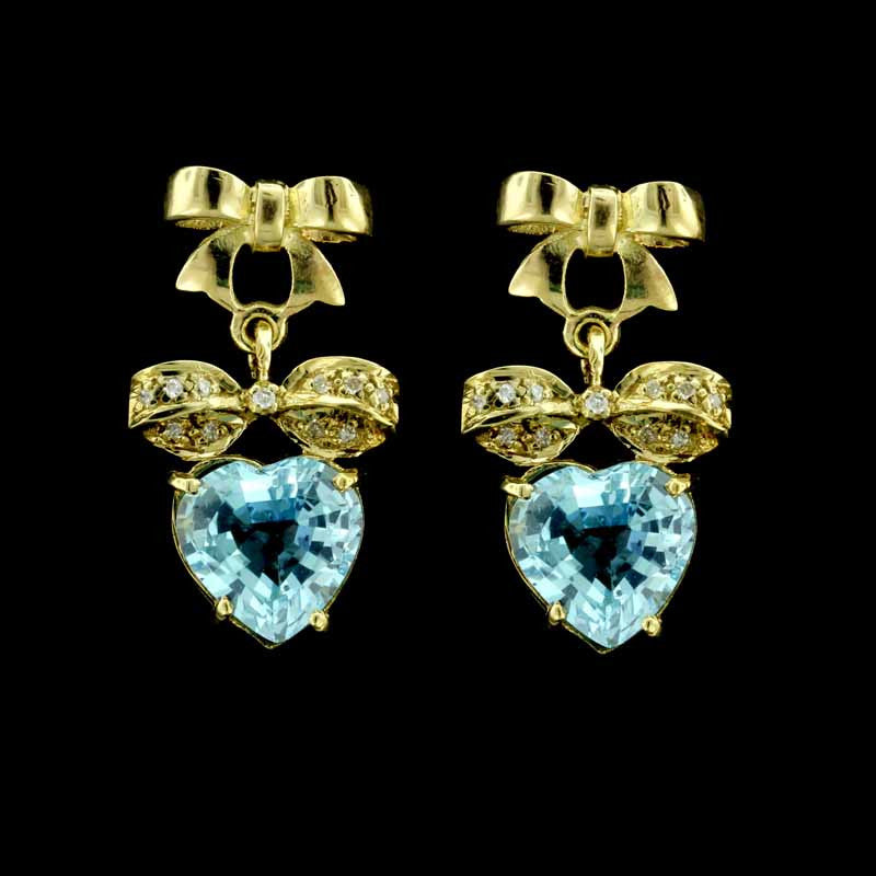 14K Yellow Gold Blue Topaz Heart Dangle Earrings
