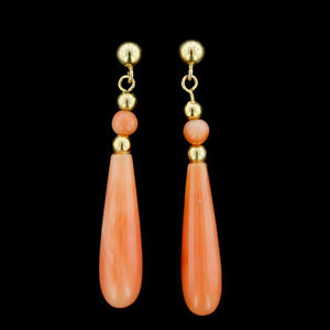 14K Yellow Gold Coral Drop Earrings
