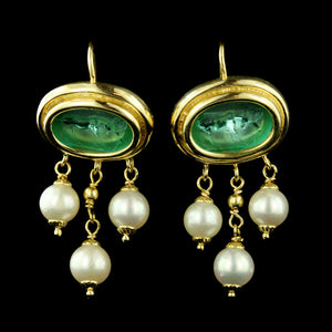 18K Yellow Gold Venetian Glass and Pearl Earring