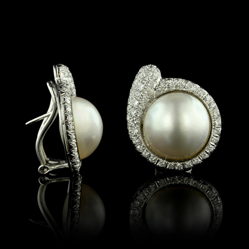 Platinum and 18K White Gold Mabe Pearl and Diamond Earrings