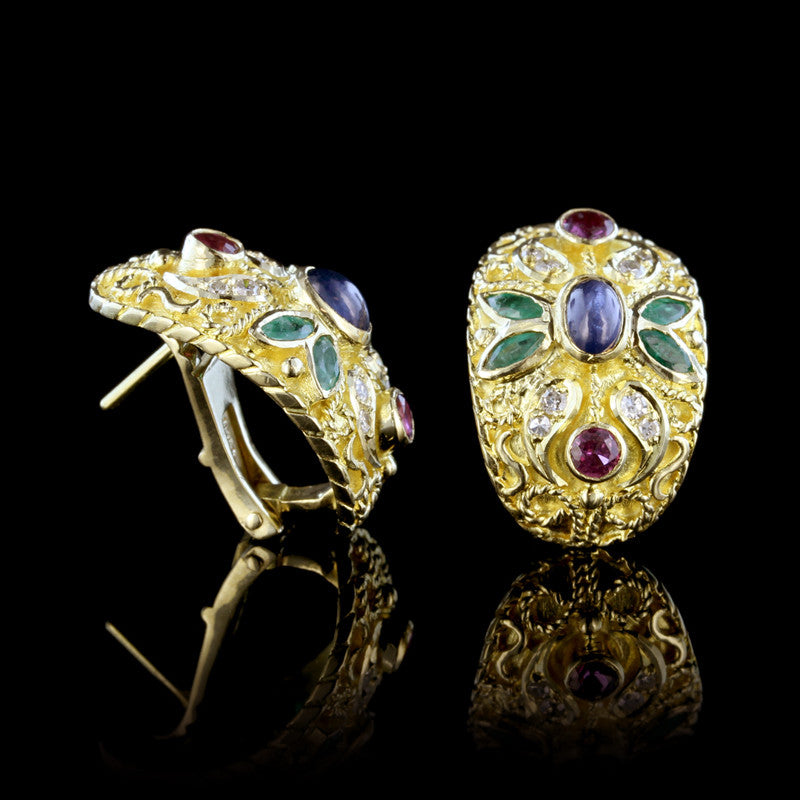 18K Yellow Gold Gem-Set Curved Earrings