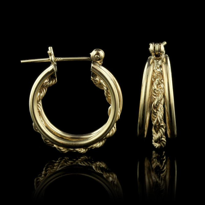 14K Yellow Gold Triple Row Hoop Earrings