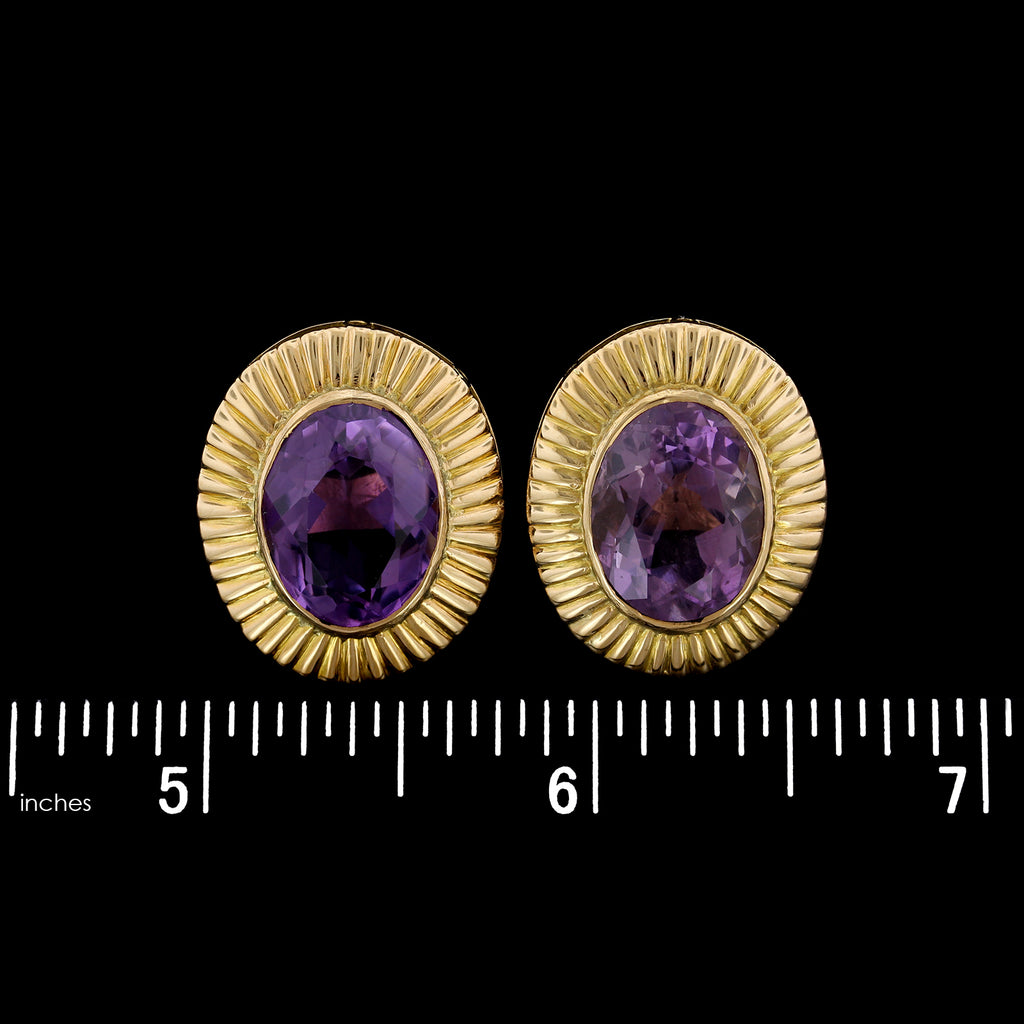 14K Yellow Gold Estate Amethyst Earrings