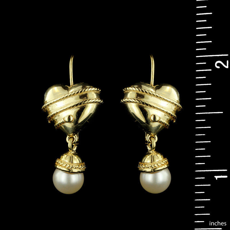 14K Yellow Gold Fresh Water Pearl Drops