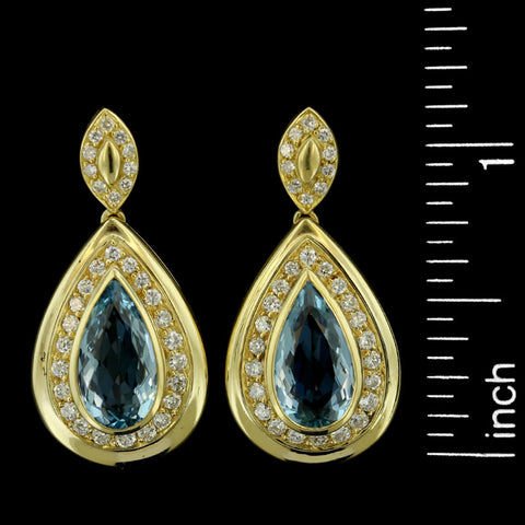 18K Yellow Gold Aquamarine and Diamond Drops