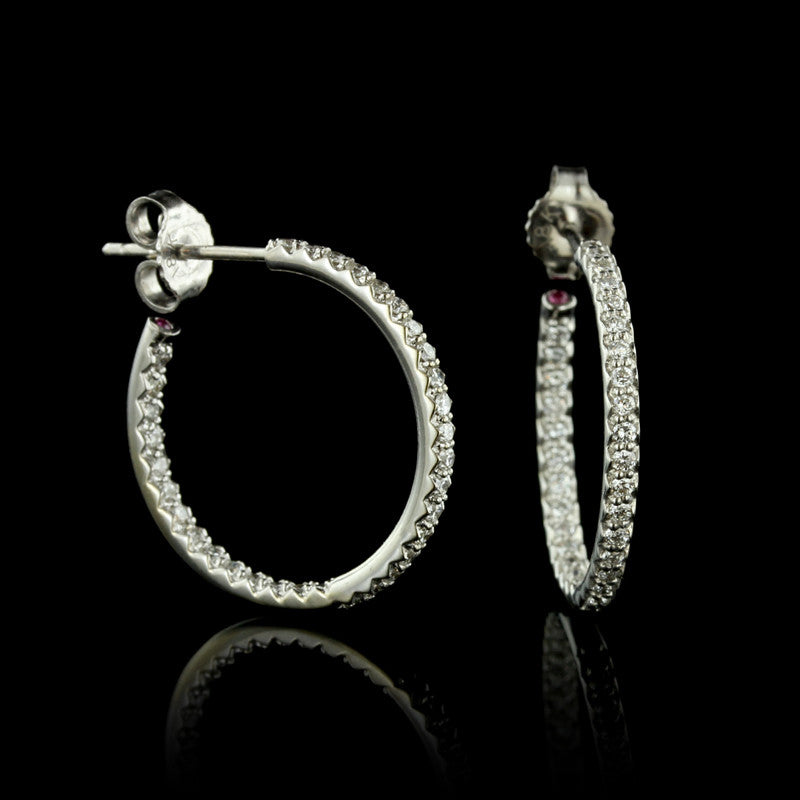 Roberto Coin 18K White Gold Diamond Hoops