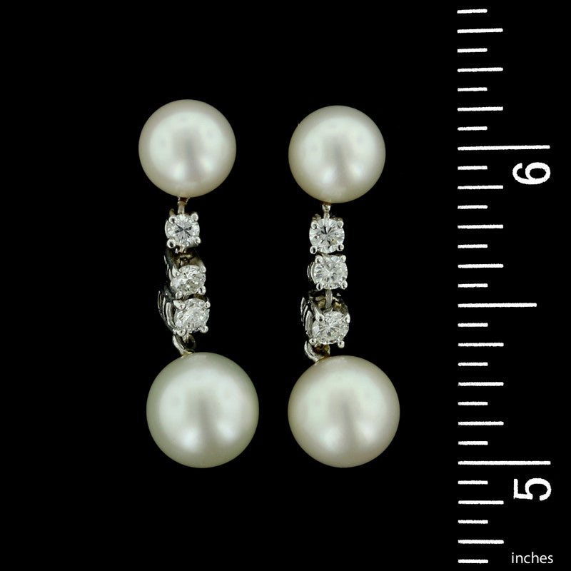 Tiffany & Co. 14K White Gold Cultured Pearl and Diamond Drop Earrings