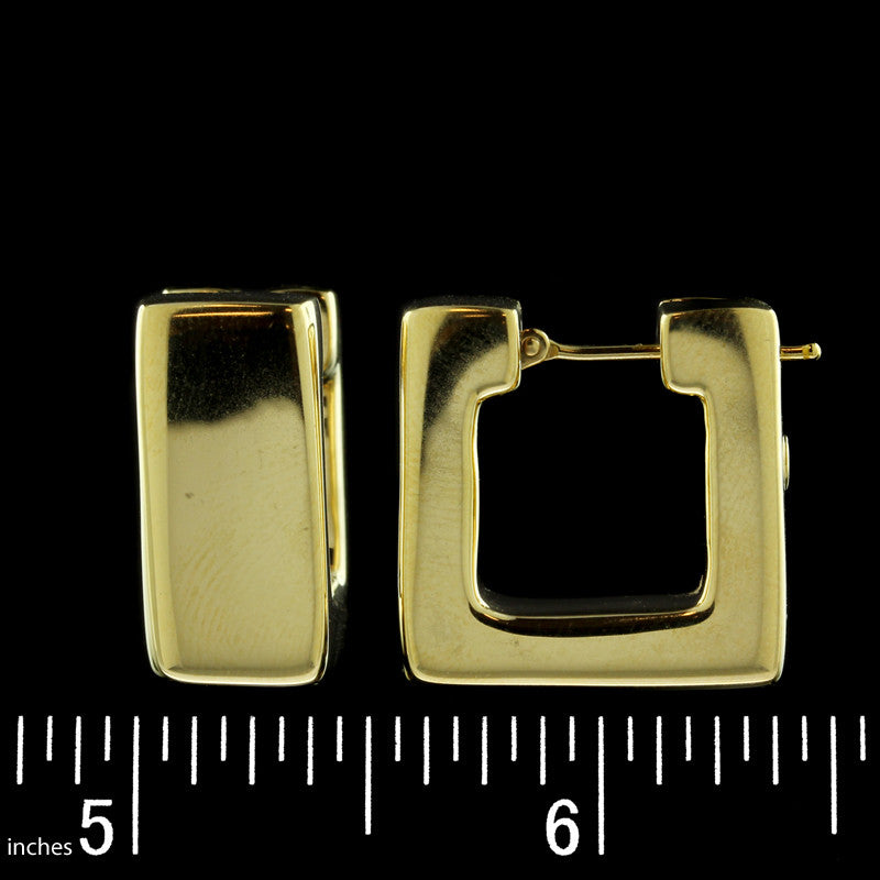 18K Yellow Gold Square Shaped Hoop Earrings