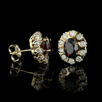 14K Yellow Gold Garnet and Diamond Studs