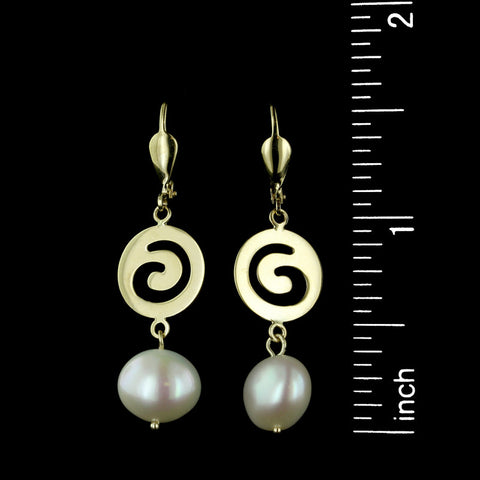 14K Yellow Gold Freshwater Pearl Drops
