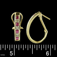 14K Yellow Gold Ruby and Diamond 'J' Hoops