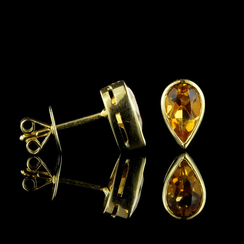 14K Yellow Gold Citrine Studs