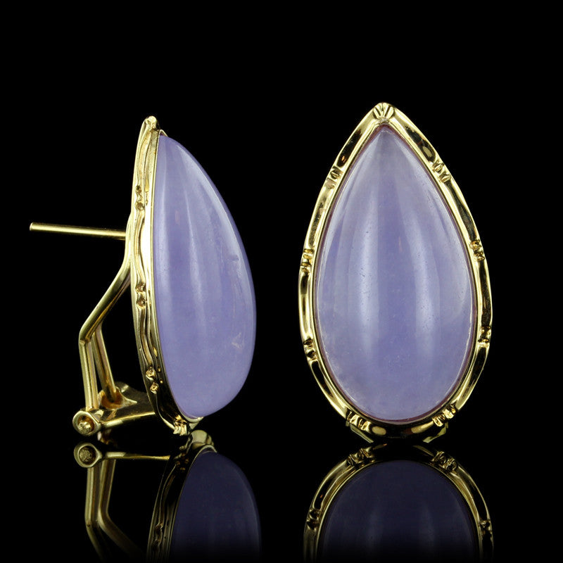 14K Yellow Gold Lavender Jade Earrings