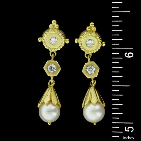 18K Yellow Gold Pearl and Diamond Earrings