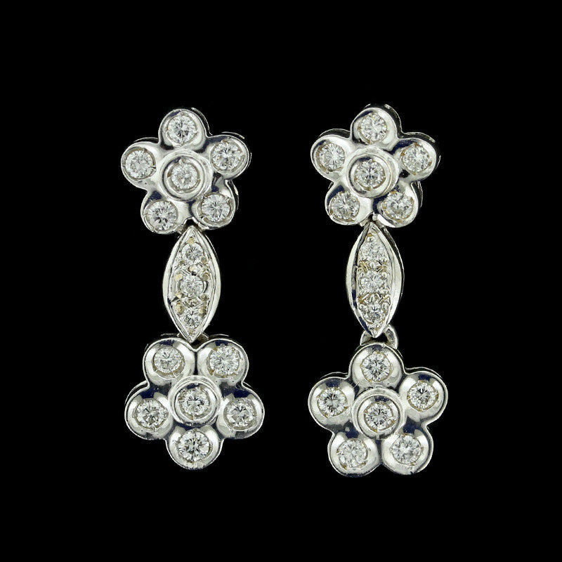 18K White Gold Diamond Drops