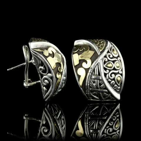 John Hardy Sterling Silver and 18K Yellow Gold Mix Media Earrings