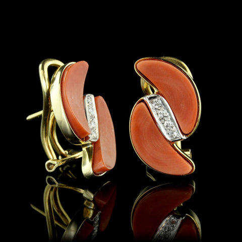 14K Yellow Gold Coral and Diamond Earrings