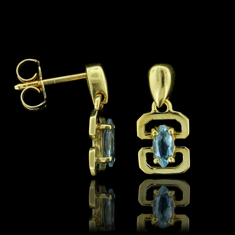 18K Yellow Gold Blue Topaz Drops