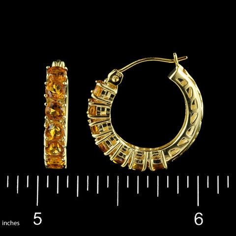 14K Yellow Gold Citrine Hoops