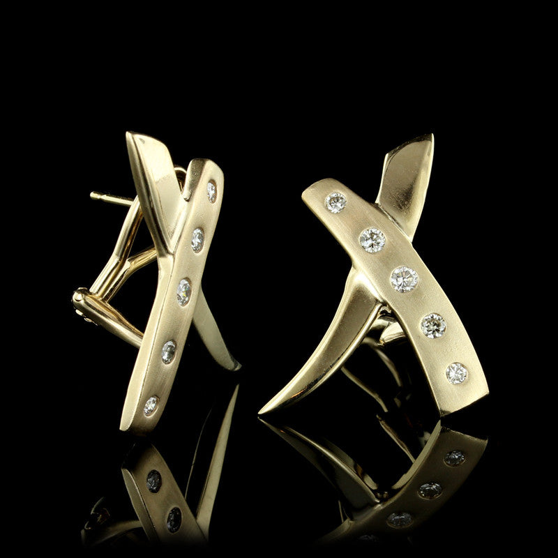 14K Yellow Gold Diamond 'X' Earrings