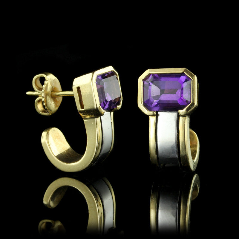 Platinum and 18K Yellow Gold Amethyst Earrings