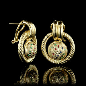 14K Yellow Gold Enamel Knot Earrings