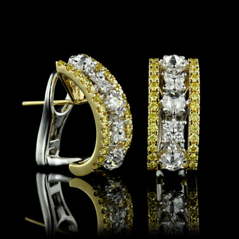 Platinum and 18K Yellow Gold Diamond Earrings
