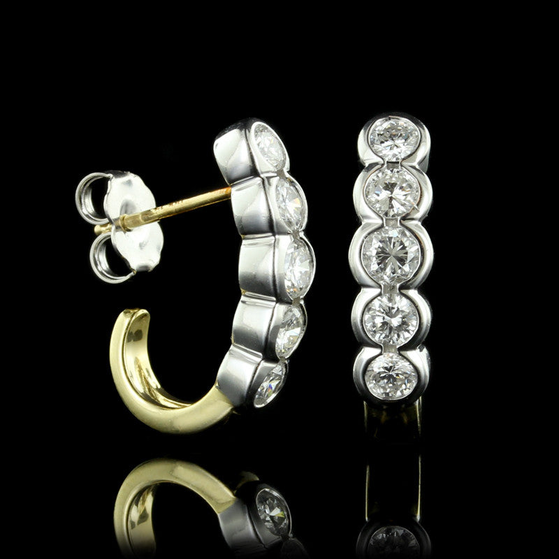 18K Two-tone Diamond Earrings