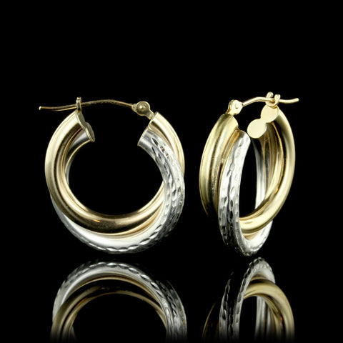 14K Two-Tone Gold Hoops
