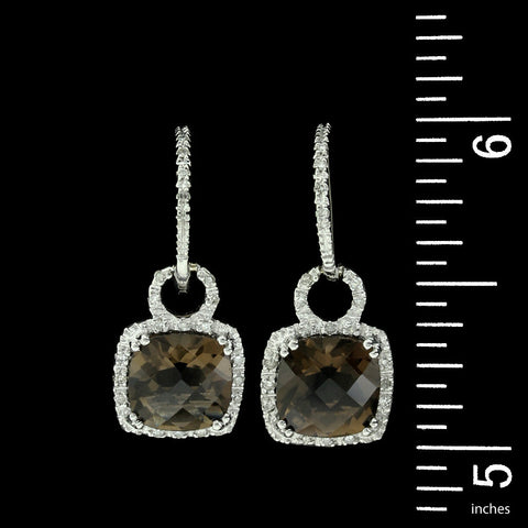 14K White Gold Smoky Quartz and Diamond Earrings