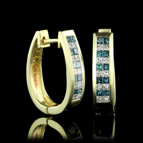 14K Yellow Gold Color Treated Blue Diamond and Diamond Hoops