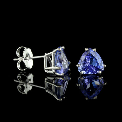 14K White Gold Tanzanite Studs