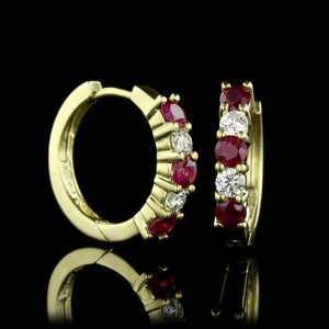 18K Yellow Gold Ruby and Diamond Hoops