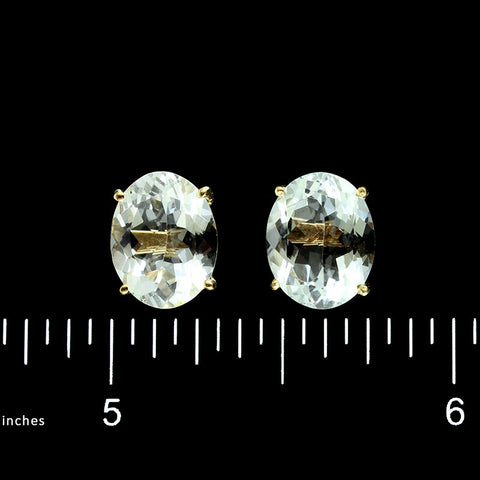 14K Yellow Gold Aquamarine Studs