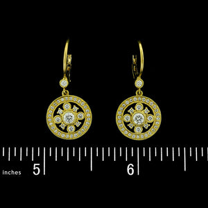 Leslie Greene 18K Yellow Gold Diamond Earrings