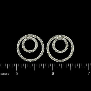 14K White Gold Estate Diamond Circle Earrings