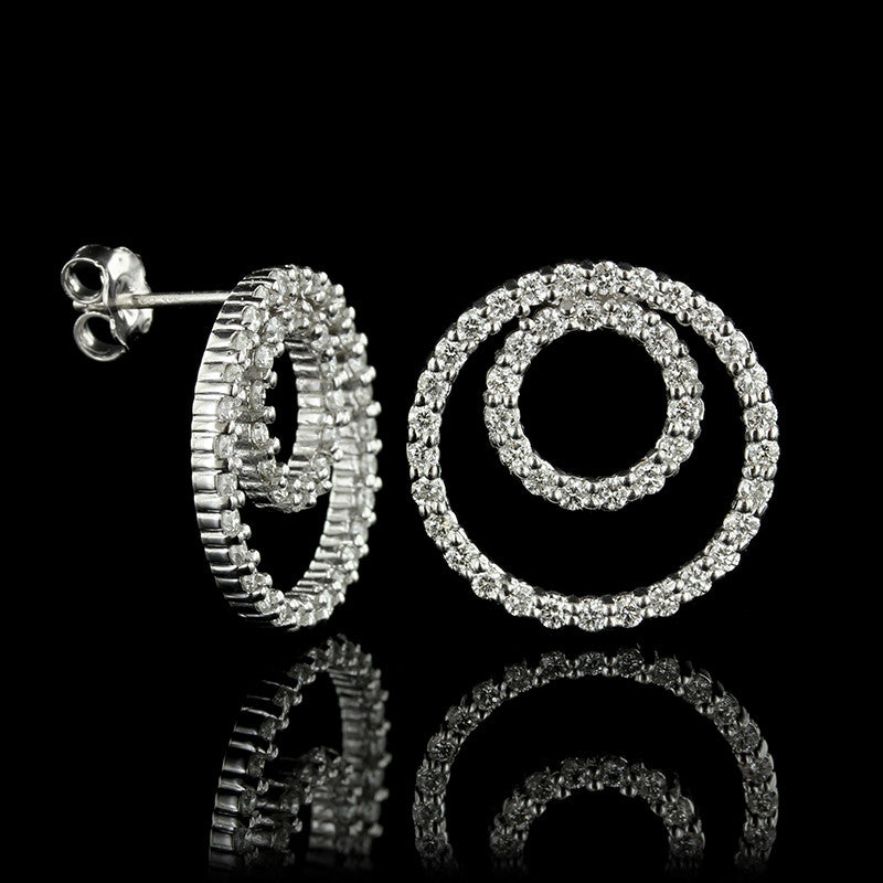 14K White Gold Diamond Circle Earrings