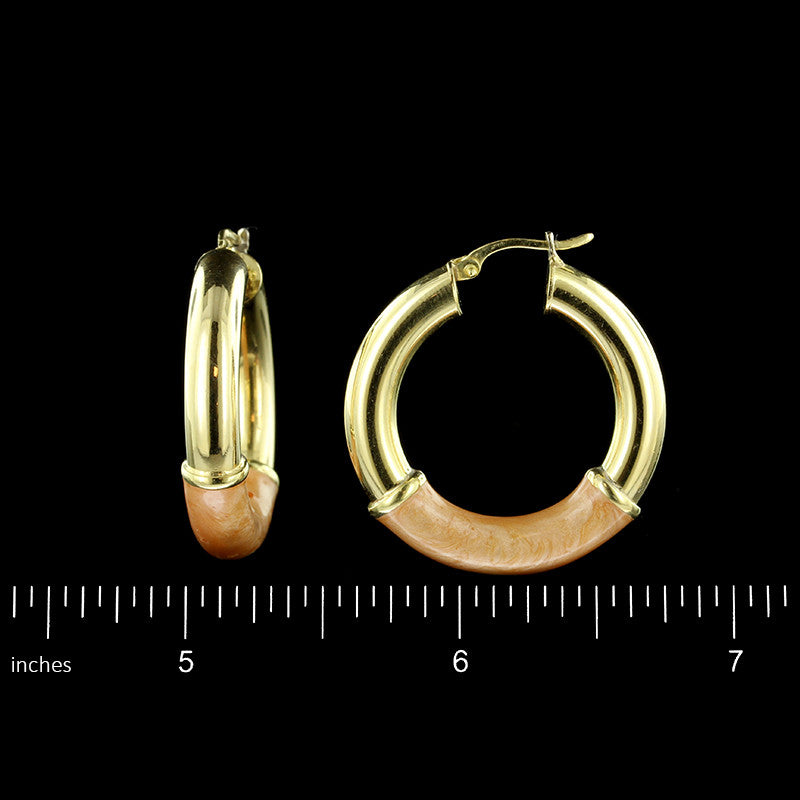 18K Yellow Gold Enamel Hoops