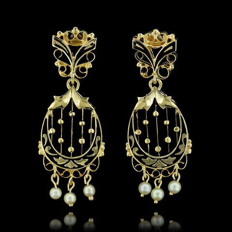 14K Yellow Gold Pearl Drops