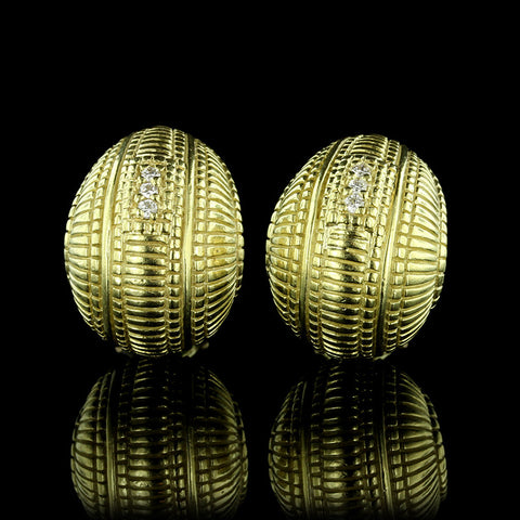 Judith Ripka 18K Yellow Gold Diamond Earrings
