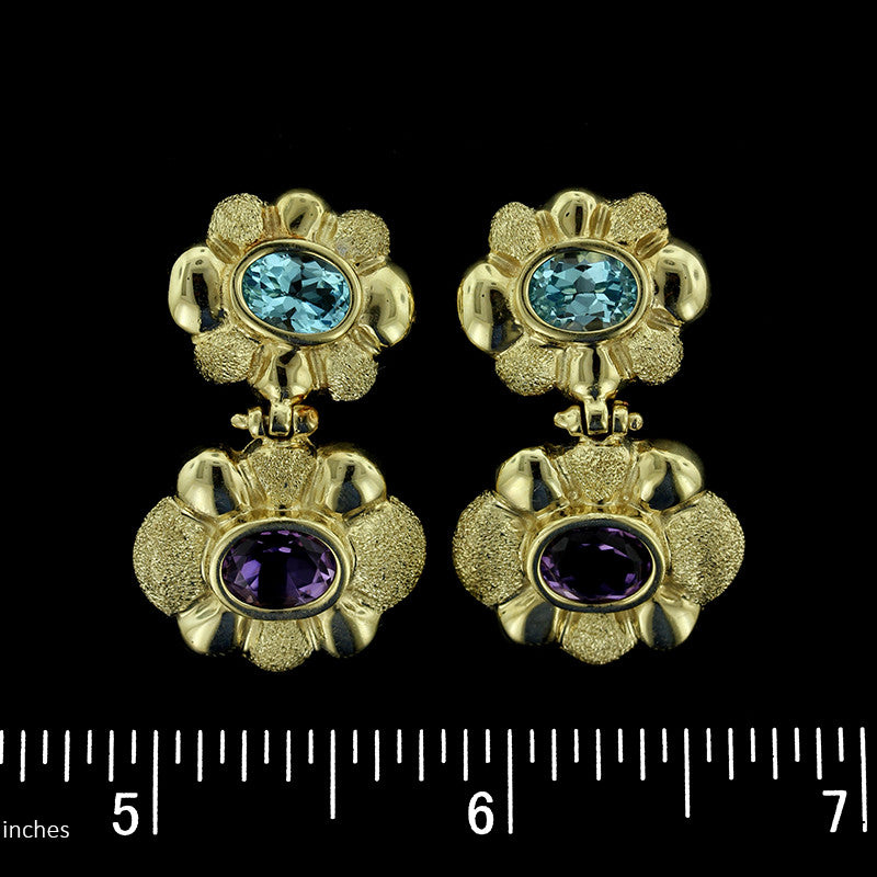 14K Yellow Gold Blue Topaz and Amethyst Earrings
