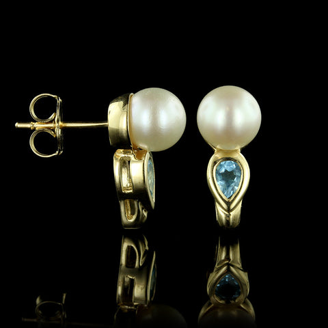 14K Yellow Gold Cultuerd Pearl and Blue Topaz Earrings