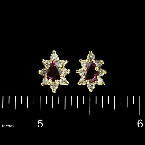 14K Yellow Gold Ruby and Diamond Earrings.