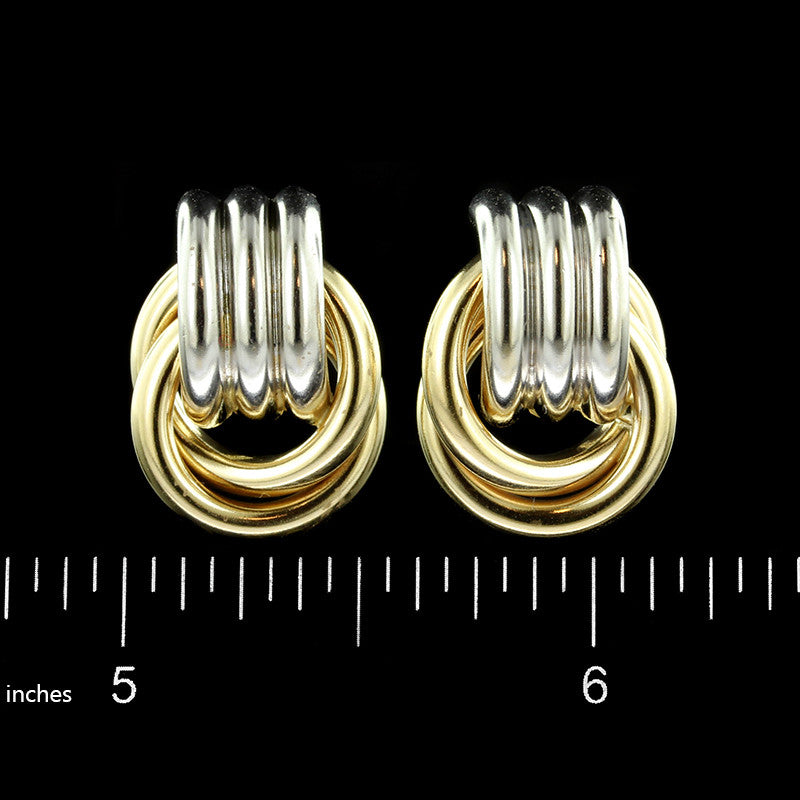 14K Two-Tone Gold Estate Knot Earrings
